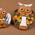 Gufo e civetta - scultura in ceramica a smalto - cm.  11x9 - 13x11