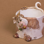 Mucca Gelsomina - scultura in ceramica - maiolica - cm. 14x14
