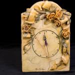 Orologio rose gialle - pasta sale - cm. 21x31