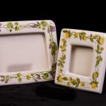 Cornici con gerani e calendule - maiolica - cm. 21x29 -20x20