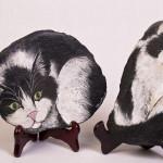 Il mio gatto Briciola - acrilico su scaglia di lavagna - cm.20x17 - 20x12
