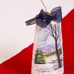 Tegola natalizia - acrilico su cotto h. cm. 19