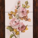 Rose rosa - maiolica - cm. 20x60