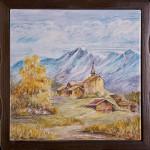 Paesino sui monti - maiolica - cm.20x20