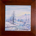 Paesaggio blu - maiolica - cm.15x15