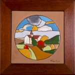 Piccolo paese -cuerda seca - cm. 15x15