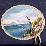 Scogli con agave - acquerello su cotto - cm. 16x20