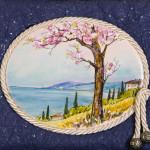 Il mandorlo - acquerello su cotto cm. 16x20