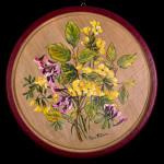 Fiori gialli e viola - acrilico su legno - diam. cm. 26