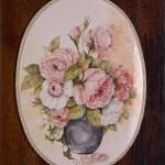 Vaso con peonie - maiolica - cm. 20x28